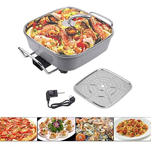 Sinbide 1500W Sartén Eléctrica para Cocinar Freír Cocer Descongelar Calentar Aluminio Sartén Eléctrica para Pan Pizza Paellera Anti Escaldado 40 X 30 cm 100 - 240 ℃ Antiadherente