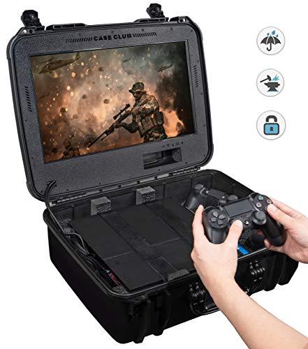 Case Club Wasserdichte Playstation 4 Tragbare Gaming-Station mit integriertem Monitor und Speicher für PS4-Controller und Spiele