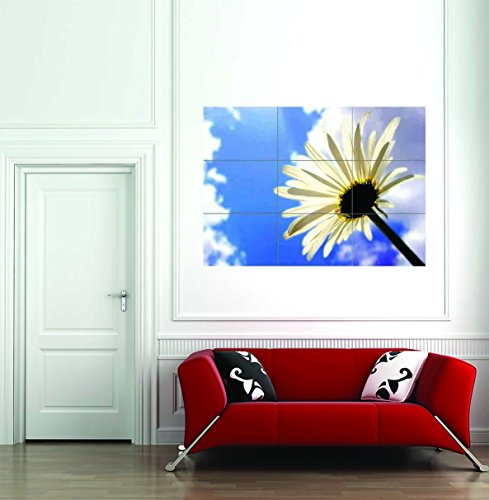 Daisy Silhouette (Daisy Silhouette Flower Floral Giant Wall Art New Poster Print Picture)