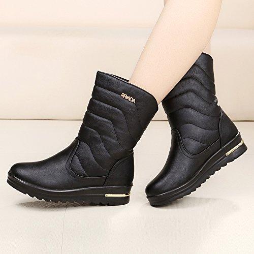SQIAO-X- La sig.ra snow boots, caldo e di spessore maggiorato di velluto scarpe di cotone, fondo piatto inverno impermeabile antiscivolo stivali di cotone Versione coreana Il grigio chiaro
