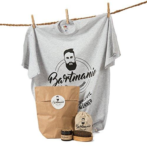 Bartmanie Bartstyling-Set INKLUSIVE T-SHIRT bestehend aus Bartwachs (50ml) & Bartbürste, 3 teiliges Geschenkset für Männer zum Nikolaus - Perfekte Vollbart-Pflege & Styling