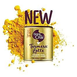 Drink Me Chai Preparato in Polvere Solubile e Bevanda Istantanea Gusto Curcuma e Cocco – 80 G