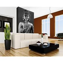 """SENSATIONSPREIS Bilderdepot24 selbstklebende Fototapete mit SOMMER RABATT """"Buddha III - schwarz weiß"""" 65x100 cm - direkt vom Hersteller"""