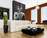 Bilderdepot24 selbstklebende Fototapete - Buddha III - schwarz weiß - 100x150 cm