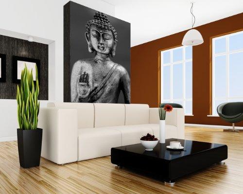 selbstklebende Fototapete - Buddha III - schwarz weiß - 100x150 cm - Tapete mit Kleber – Wandtapete – Poster – Dekoration – Wandbild – Wandposter – Wand – Fotofolie – Bild – Wandbilder - Wanddeko – Buddhismus – Religion - Glaube – Körper und Geist – Wohnzimmer – Schlafzimmer – Arbeitszimmer – Büro – Flur