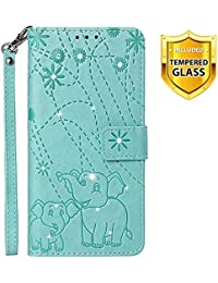 Boloker Case for Xiaomi Pocophone F1 [with Tempered Glass Screen Protector], [Kickstand] Retro Flip Case Elegant Vintage Diamond Design PU Leather Protective Case (Green)