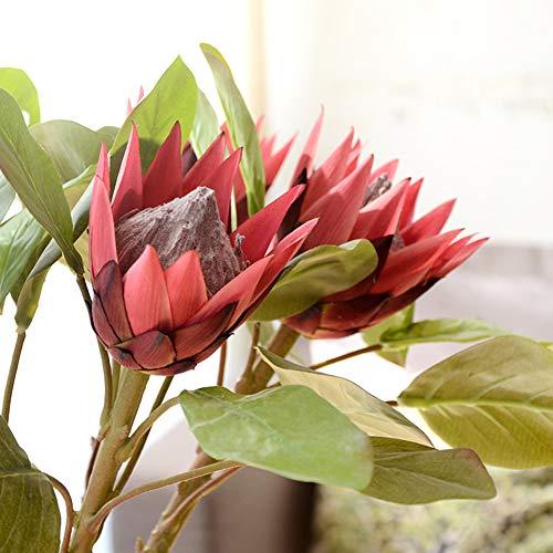 FEIDAjdzf König Protea 1 Stück König Protea Künstliche Blume Gefälschte Pflanze DIY Hochzeit Bouquet Party Decor Wine Red