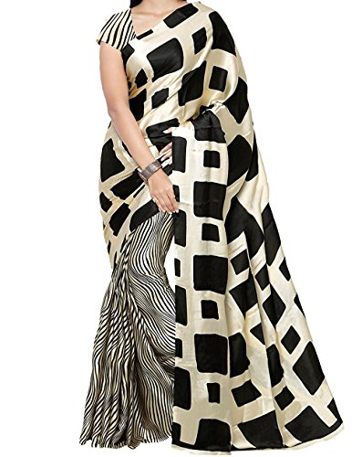 Veronica Closet Women's Georgette Saree With Blouse Piece (Georgette 100,Cream,Free Size)