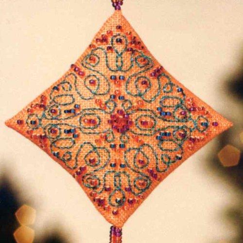 Tangerine Sorbet Diamond Ornament with Tassel Mill Hill Beaded Cross Stitch Kit MH223301 by Mill Hill (Mill Hill Ornamente)