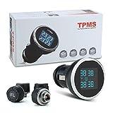 RAFXLY TPMS Auto Reifendruckkontrollsystem Reifendruckmesser Reifendruckprüfer Überwachungssystem mit 4 Sensoren Tire Pressure Monitor System Schwarz