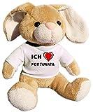 Plüsch Hase mit T-shirt mit Aufschrift Ich liebe Fortunata (Vorname/Zuname/Spitzname)