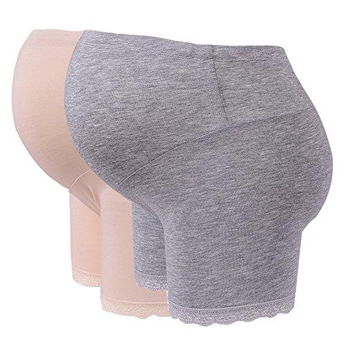Highdas Paquete de 2 Embarazadas bajo las bragas Ajustable Soft Cómoda Maternidad Over Bump Underwear Shorts Gris y Piel / XXL