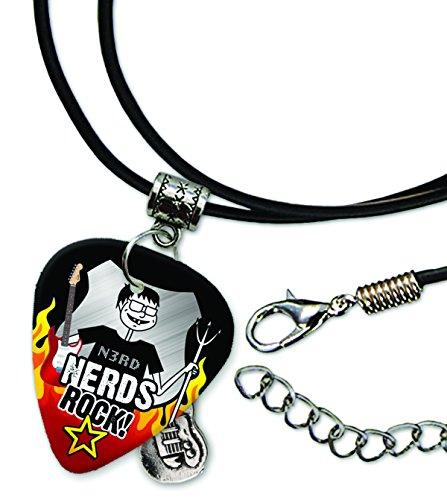 nerd-nerds-rock-pick-de-guitarra-collar-de-cordon-de-cuero-r1
