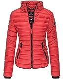 Marikoo Damen Jacke Frühling Übergangsjacke Designer Steppjacke Daunen Look L5 (L, Rot)