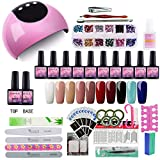 Saint-Acior 24W UV/LED Lámpara Secador de Uñas Kit Uñas de Gel 10PC Esmalte Semipermanente...