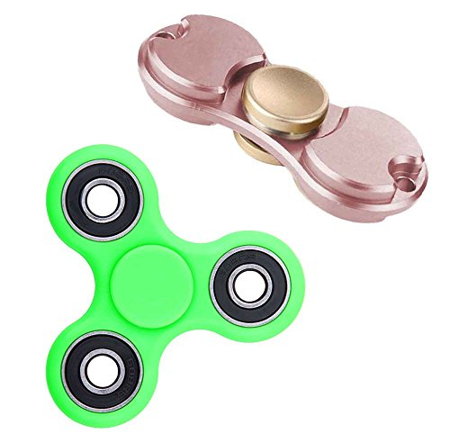 deAO-Dual-Bar-and-Tri-Bar-Hand-Spinners-PROBALANCE-Sensory-Integration-Fidget-Toys-Pack-Of-2-Improves-Concentration-and-Relaxation-Anti-stress-and-Antianxiety-PINK-GREEN