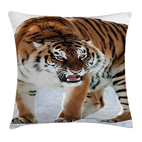 ZMYGH Tiger Throw Pillow Cushion Cover, Close-up of Panthera Tigris Altaica  Siberian Giant Feline Russian Predator, Decorative Square Accent Pillow