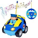 deAO RC Ferngesteuertes Cartoonauto für Kleinkinder Autospielzeug mit Licht und Musik (Polizeiauto)