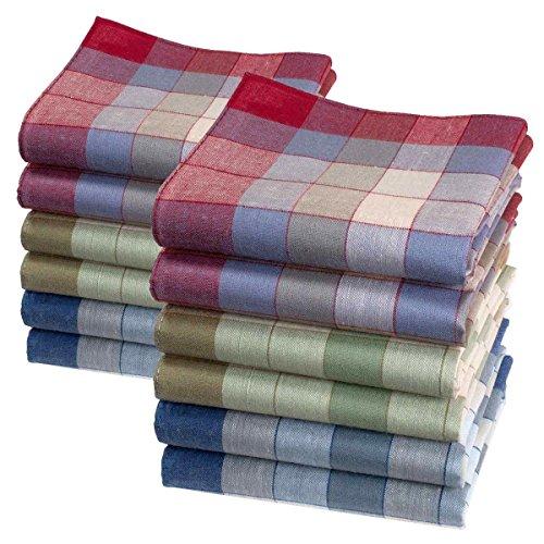 Mouchoirs à carreaux Marius - 40cm x 40cm - 12 unités