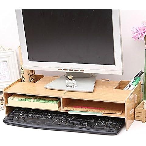 Buwico ecológico ordenador de sobremesa Monitor Riser Soporte, decorativa de madera stand Dock Holder Organizador Soporte de pantalla para iMac PC portátil Oficina