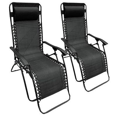 Set of 2 Heavy Duty Textoline Zero Gravity Reclining Garden Sun Lounger Chairs - inexpensive UK light shop.