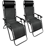 2 x Heavy Duty Textoline Zero Gravity reclinable tumbona de sillas de jardín