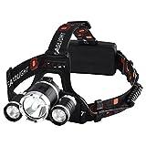 Linterna Frontal LED, VicTsing Linterna de cabeza 6000 Lúmenes y 4 Modos de Luz Para Camping, Pesca, Ciclismo, Carrera, Caza ( 2 Pilas recargables incluidas, Impermeable IP65 )