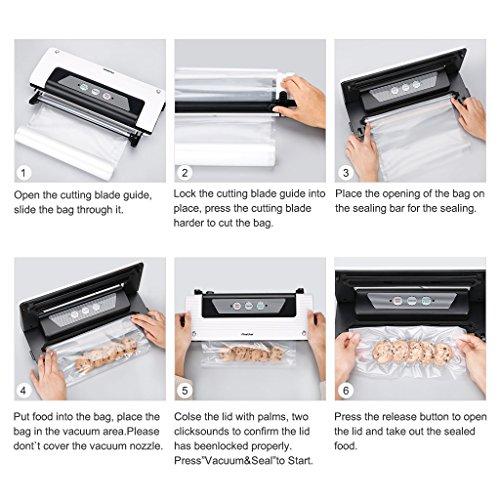 Finether Vakuumierer Vakuumiergerät Vakuumversiegelung Lebensmittel Folienschweißgerät Vakuum-Siegel-System mit Schneidefunktion und Schlauchanschluss für Nahrungsmittel inkl. 1 Folienbeutel weiß - 6