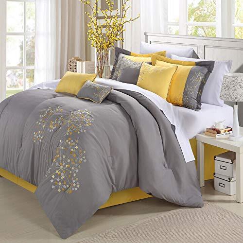 Chic Home 8-teilig Stickerei Tröster Set, Polyurethan, Floral Yellow Grey, Queen -