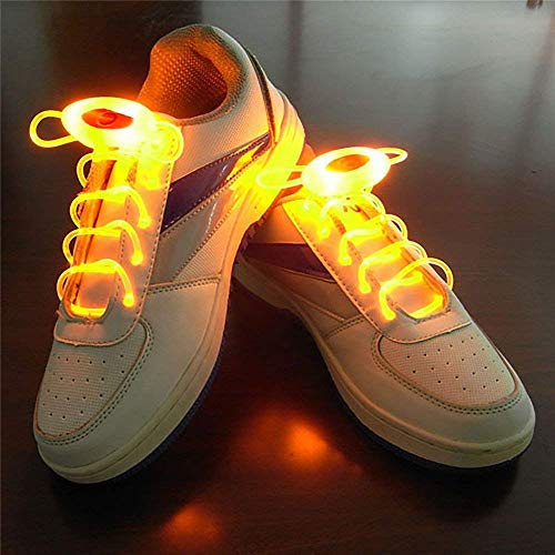 Stick Kostüm Glow - Zhaolan-Home Decoration Heimtextilien 1 Paar 80cm Glow Shoelaces Sport Schnürsenkel Glow Stick Flashing Neon Luminous Laces Yellow Wohnaccessoires (Color : Yellow)