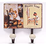 Decoratie Clothes Hooks Wall Hooks Coat Hooks Set of 2 Vintage Nostalgia Tin with Pears Soap 20.5 x 21.4 CM