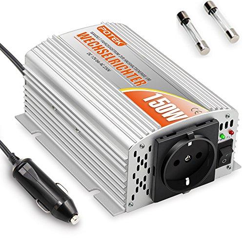 Netzspannung Luft (POTEK 150W Spannungswandler Wechselrichter DC 12V auf AC 230V Inverter Aluminiumgehäuse; inkl. Kfz Zigarettenanzünder Stecker und 2 Ersatzsicherungen)