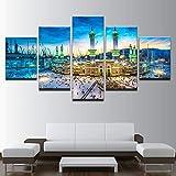 HD Décoration de la Maison Affiche Moderne Mur Art Toile 5 Panneau Ville Bâtiment Nuit Vue Salon Imprimé Photos Peinture Cadre 5 40x60 40x80 40x100cm...