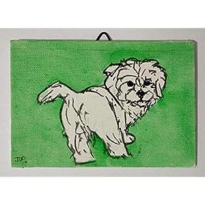 Der Welpe,Maltesischer Hund-Malerei auf Leinwand handgefertigt Karton, cm10x15cm Größe,fertig zum Aufkleben auf die Wand. Hergestellt in Italien, Toskana Lucca. Erstellt von Davide Pacini.