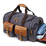 Kemy's Canvas Weekender Reisetasche Leder Reisegepäck Duffle Bag Handgepäck Tasche Leather Wasserdicht für Herren Damen grau