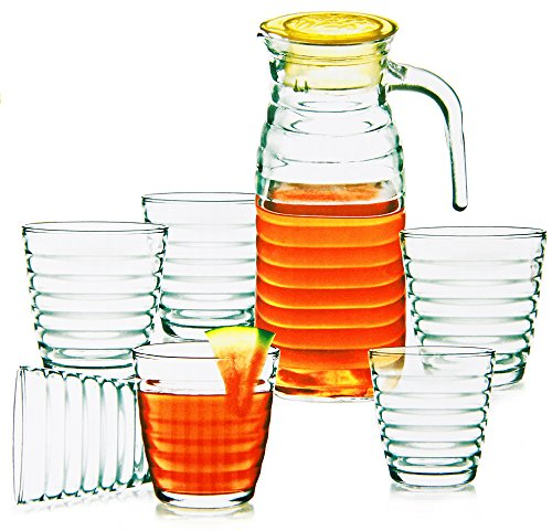 Saftkrug mit 6 Gläsern Glaskrug Wasserkrug Bistro Krug Milchkrug Weinkaraffe 7-Set