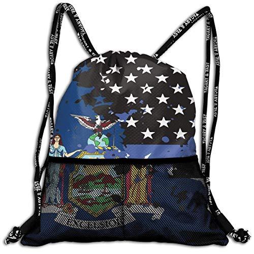 Hipiyoled New York Thin Blue Line Flag USA Durable Sport Drawstring Backpack for School Soccer Yoga