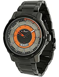 Forest Orange Dial Date Series Black Metal Strap Analogue Wrist Watch For Mens & Boys (FST-0005)