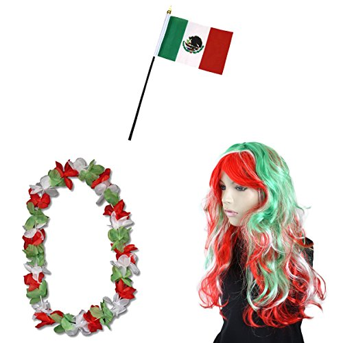 Sonia Originelli Fan-Paket-4 WM Fußball Locken Perücke Hawaiikette Flagge Party Farbe Mexiko