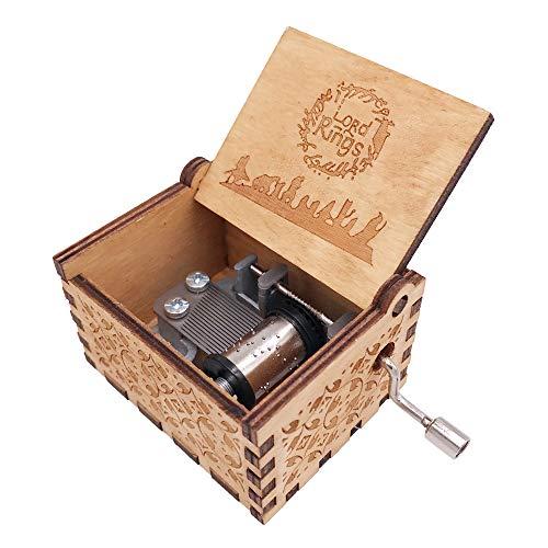 Youtang The Lord of The Rings Caja de música de manivela de Madera Tallada, Juego la canción temática del Señor de los Anillos, Madera, marrón, marrón