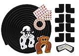 Ecken und Kantenschutz – 6 Meter Kantenschutzprofil und 8x Eckenschutz – Sicherheit für Babys und Kinder – selbstklebender Kindersicherheit Schaumstoff Stoßschutz – inklusive 2 Gratis Türstopper (Black)