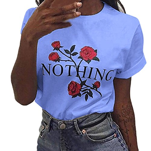 Ulanda Damen Sommer Shirt Teenager Mädchen Casual Baumwolle Bluse Loose Kurzarm Rose Druck Muster Nothing Tops Hemd Oberteile Pullover T-Shirt (Blau, XS)