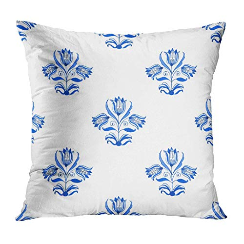 Throw Pillow Cover Antique Delft Blue Style Watercolour Traditional Dutch Floral with Tree Tulips Cobalt on White Authentic Decorative Pillow Case Home Decor Square 18x18 Inches Pillowcase Delft Blue Tulip