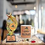 FS Rakhi Gift For Brother, Genius Bhai Coffee Mug Set Of 3 - Mug, Trophy And Rakhi With Rolli-Tikka For Rakshabndhan Gifts For Bhai
