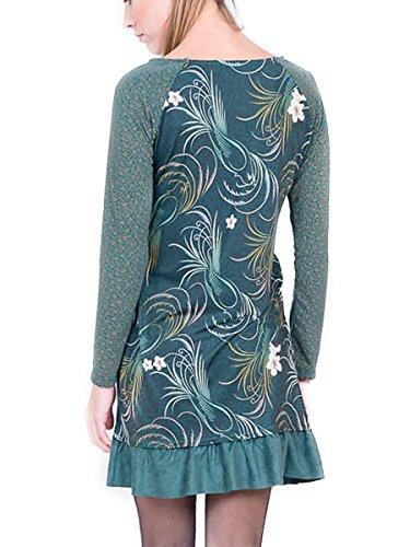 AmarilloLimon Damen Kleid, Casual Monet Grün