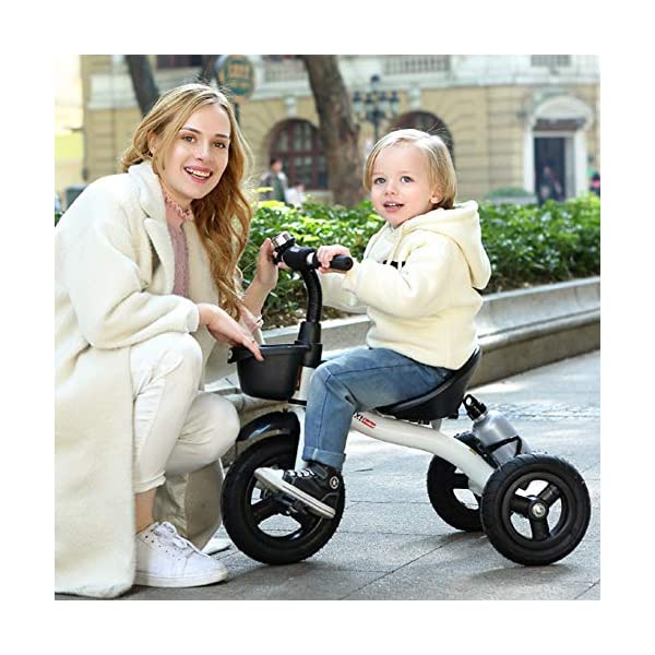 GSDZSY - Adjustable Size Children Kids Tricycle,EVA Tire/Rubber Tire Non-slip And Wear Resistant,easy Installation,Suitable For Children 18 Months - 5 Years Old,Red_EVA GSDZSY ❀ Material: High-carbon steel +ABS+EVA tire / rubber tire ,Suitable for 18 Months to 5 years old Child, Maximum Load 30 kg ❀ Sturdy frame and light weight, the handlebar has a protective sponge cover to protect the child's forehead ❀ Baby tricycle can be quickly Dismantled and Assembled and suitable for Mother installed 7