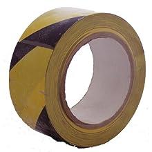 Pericolo in PVC per uso interno, 50 mm x 33 m, colore: nero, Giallo, 922366