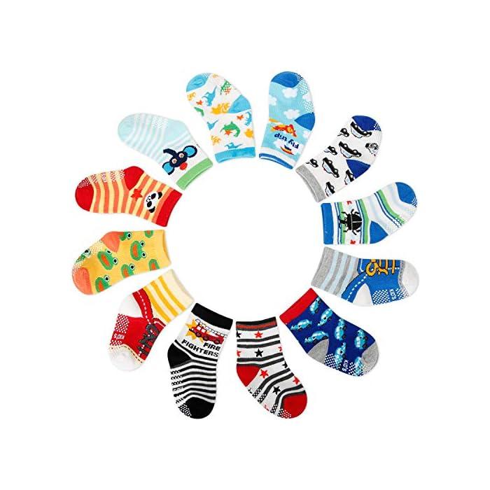 ZOEREA Baby(6-36 Monate) 12cm Socken gemischter 12er Pack, mit ABS, Baumwolle