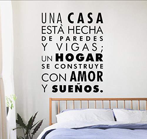Wuyyii 42X54 Cm Spanische Wörter Wandaufkleber Inspirational Home Familie Zitat Wandtattoo Wohnkultur Wohnzimmer Liebe Träume (Wörter Halloween Spanisch)