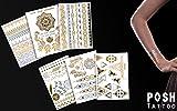 Flash Tattoo Beauty Box Eure Lieblinge | Ein Set mit 70 Gold und Silber Tattoos | Armband Fußkette Dreieck Fingertattoo Traumfänger Vogel Blumen Feder | Weitere Motive auch in weiß und schwarz verfügbar